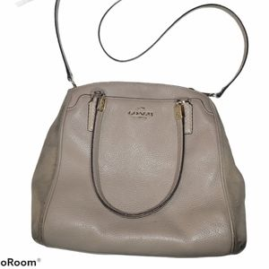 Coach Brown leather and suede crossbody bag purse